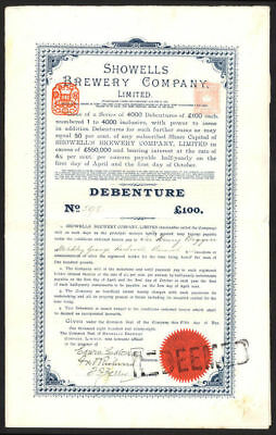 Showells Brewery Co. Ltd., £100 Debenture, 1898, Birmingham