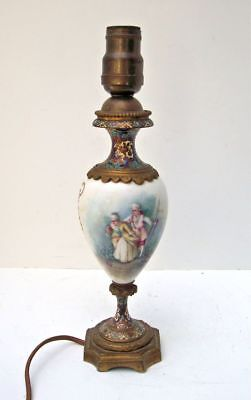 Sevres France Porcelain & Champleve Bronze Lamp Hand Painted Artist Signed c1880