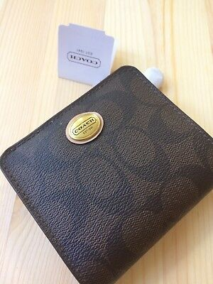 NEW Coach Peyton Signature Small Wallet 50176 Brown Tan