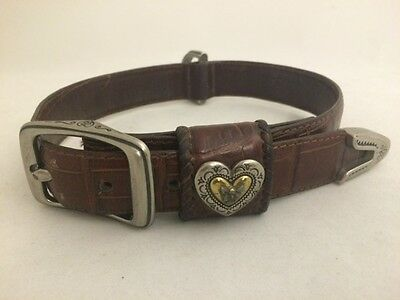 "Rare Brighton Brown  Leather Dog Collar 22"" Large  Model  Dg647 Used"