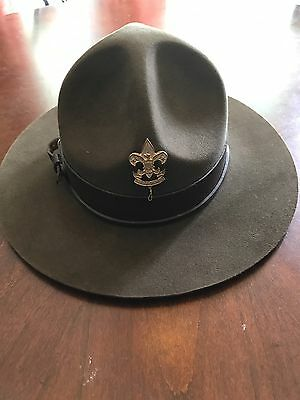 Vintage  BSA Official Boy Scouts Leader Campaign Hat Size 7 Oval W/ 1911 Pin