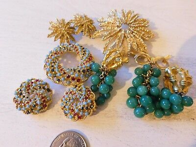 Vintage lot of 3 Brooches & Earrings Demi Parure signed sets Sara Coventry Avon