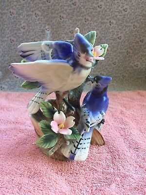 Vintage Tilso Blue Jay Hand Painted Figurine Japan -  Great Condition