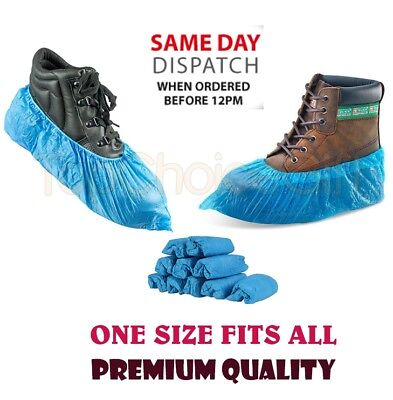 10 - 1000 Premium disposable shoe covers overshoes blue embossed multi listing