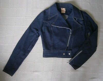 Vintage Girls Denim Jacket - Age 12 Years Approx - Navy - Zip front - Used