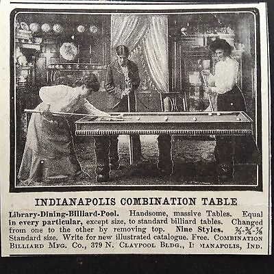 Antique 1903 Print Ad(D11)~Indianapolis Combination Pool Table Indianapolis Ind.