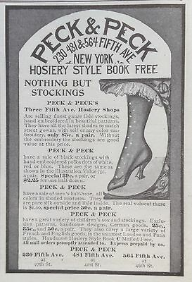 Antique 1909 Ad(F14)~Peck & Peck Hosiery Style Book Ad. Stockings