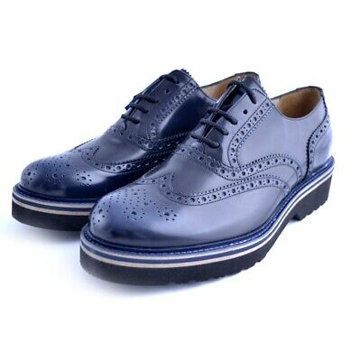 SCARPE STILE INGLESE shoes Soldini uomo man pelle leather blu made in italy