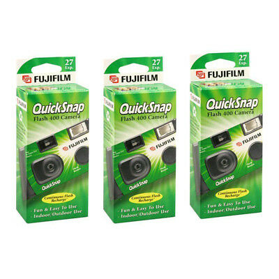 3 Pack Fujifilm Quicksnap Flash 400 ASA Disposable 35mm Camera