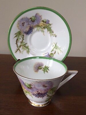Royal Doulton GLAMIS THISTLE Pointed Handle Footed Cup & Saucer Set