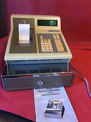 Vintage sanyo electronic cash register LX310 w/ manual and all keys