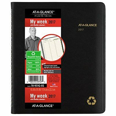 """AT-A-GLANCE Weekly / Monthly Appointment Book / Planner 2017 6-7/8 x 8-3/4"""" R..."""
