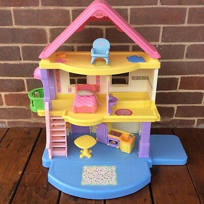 fisher price mattel my first dollhouse 3 story doll house furniture