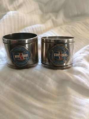 Vintage Souvenir Of M.V DUNTROON  Silver Plated Napkin Rings