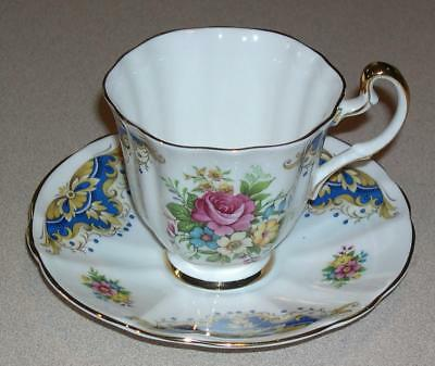 Royal Adderley Bone China White/Floral Cup & Saucer, Made in England