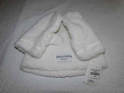 Abercrombie & Fitch Kids Girl S / M  Beanie Hat Cap Gloves Mittens Set White NWT
