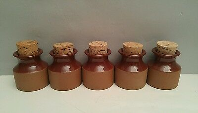 Vintage ceramic spice jars w/ cork lids retro vintage studio pottery set of 5