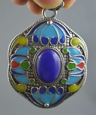 Collectable Handwork Miao Silver Carve Ancient Flower Special Character Pendant