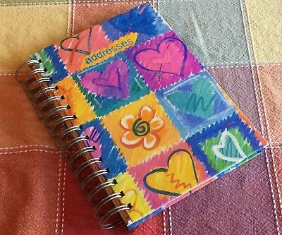 "Flower Heart Addresses Book Colorful Alpha Tabs Purple Interior 5.5"" x 8"" Spiral"
