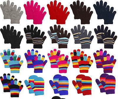 Toddler Children Kids Winter Cold Weather Winter Knit Gloves - 3 - 8 yrs Old