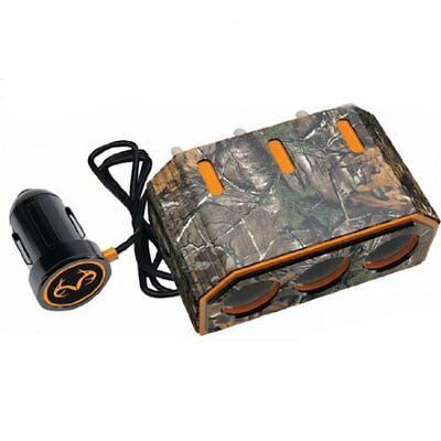 Realtree Xtra (10042) 12V/5 Amp Triple Socket with Individual Lighted Power