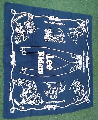 RARE Vintage LEE Riders Bandana Handkerchief Blue RODEO Roping Bull Riding Bronc