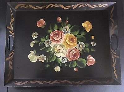 """Gorgeous Large Antique 22"""" Toleware Tole Hand Painted Metal Tray FLORAL FLOWERS"""
