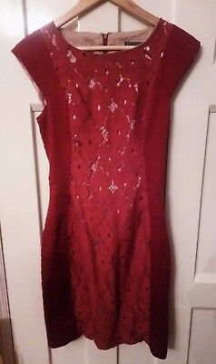 size 8 red satin and lace dress by Apricot