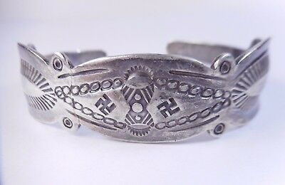 Rare Old Pawn Sterling Silver Whirling Logs Stamped Cuff Bracelet Navajo