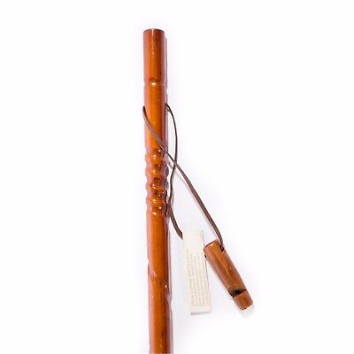 Handmade Wooden Hiking Stick Hand Carved Spiral Compass Leather Strap Brown