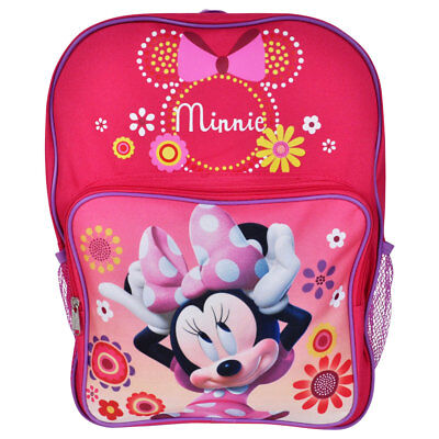 "Disney Minnie Mouse 16"" Backpack School Rucksack Book Bag Pink for Kids Girls"