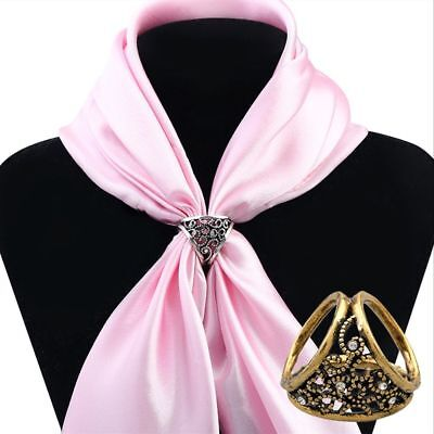 Shawl Cute Women Gold/Silver Lady Silk Scarf Ring Clip Jewelry Brooches Buckle