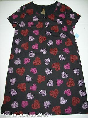 Simply Basic Women's V-Neck House Dress Nightgown Pink Red Hearts Loose Fit S/M