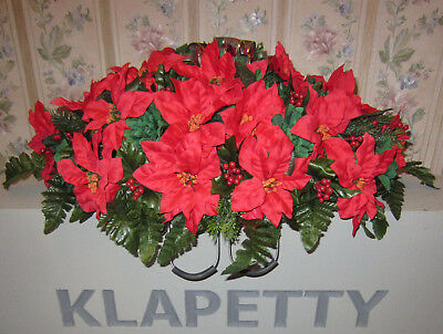Poinsettias Christmas Red Flowers Memorial Day Cemetery Grave Headstone Saddle