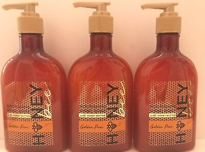 3 Bath & Body Works Golden Pear Nourishing Hand Soap w Honey Butter 8 oz NEW