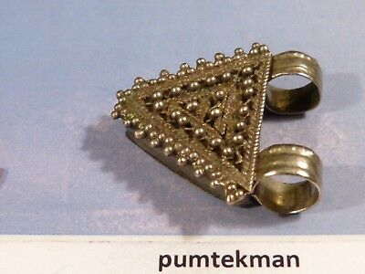 ANTIQUE ETHIOPIAN SILVER BEAD SILVERSMITHING GRANULATION 24 by 21 MM - pumtekman