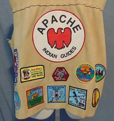YMCA Illinois Scout Guide Camping Hastings Lake Apache Patch Leather Vest 1996