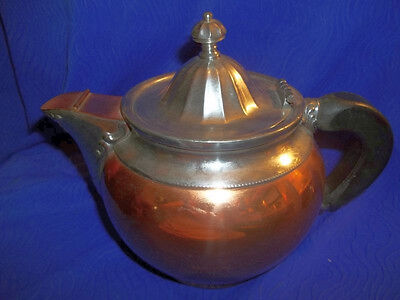 Antique Manning Bowman Copper Over Nickel/Silver Teapot