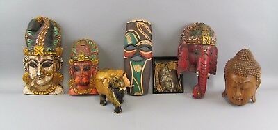 Set of 7 Asian Wood&Bronze Carvings God Masks&Statues