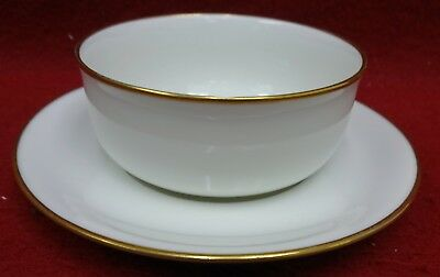 HAVILAND Limoges France china DONHOFF White w/ Gold Trim RAMEKIN Bowl & Saucer