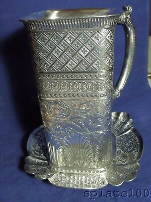 Best James Tufts Victorian Very Ornate Water Wine Pitcher Matching Under Tray