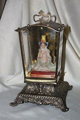 Vintage Antique Display Case With Asian Figure Inside Brass