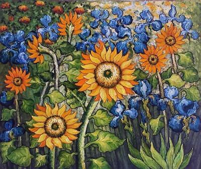 Sun Flowers by Van Gogh, 20x24 Hand Painted Oil Painting, Reproduction on Canvas