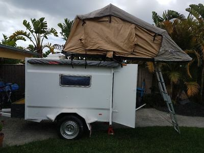 7x4 box enclosed box trailer with ARB Roof top camper