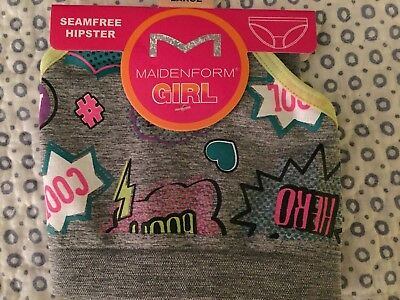 Maidenform Girl Seamfree Hipster Panty Size L Heather Gray with Comic Hero