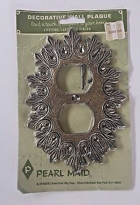 Vintage Pewter Plated Wall Socket Outlet Cover - New NOS