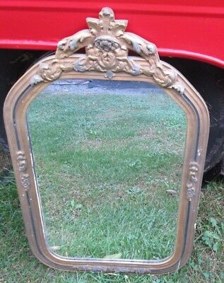 Vtg Antique MIRROR Old Gesso Wall Hanging WOOD Frame 23 1/2 X 14 1/2 INS.