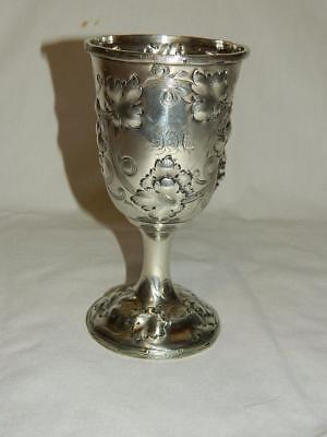 ANTIQUE c.1850 AMERICAN COIN SILVER CHALICE  GOBLET CHARTERS,CANN & DUNN NEWARK