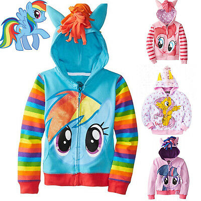 My Little Pony Wings Coat Outwear Girls Kids Hoodie Party Sweatshirt Zip Jackets