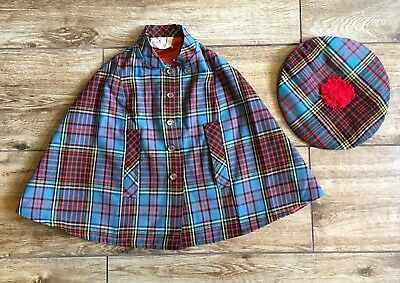The Scottish Wool Shop Wool Blend Bermuda Plaid Lined Poncho Cape Pom Hat
